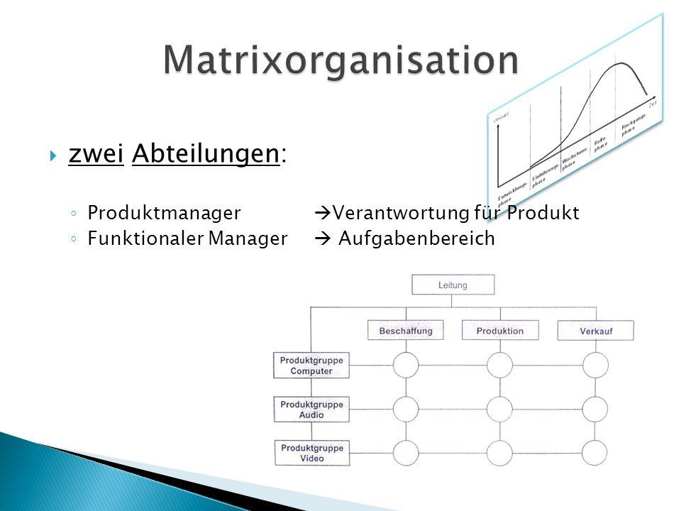 Matrixorganisation zwei Abteilungen: