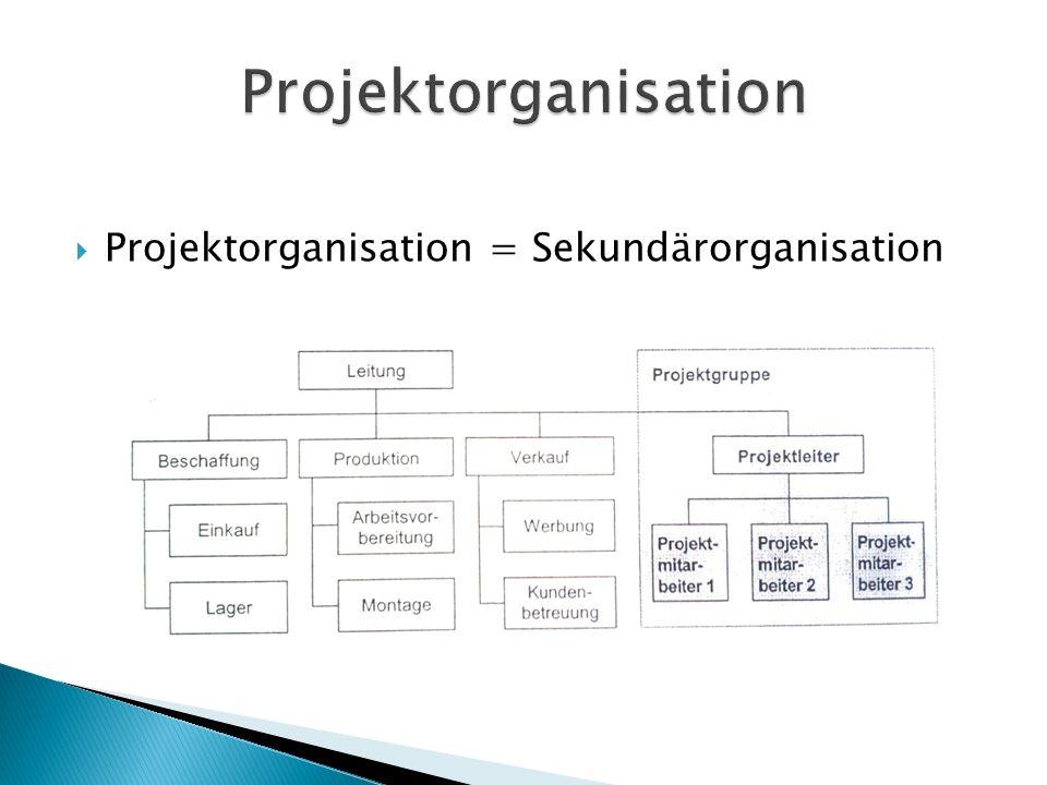 Projektorganisation Projektorganisation = Sekundärorganisation