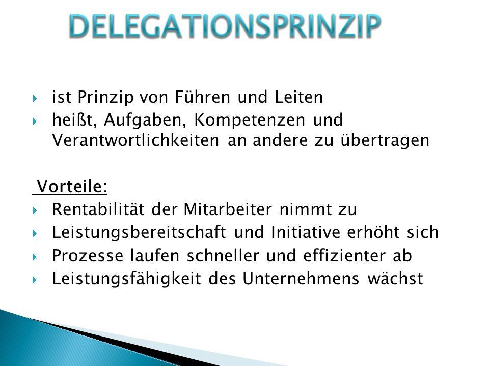 Delegationsprinzip ist Prinzip von Führen und Leiten