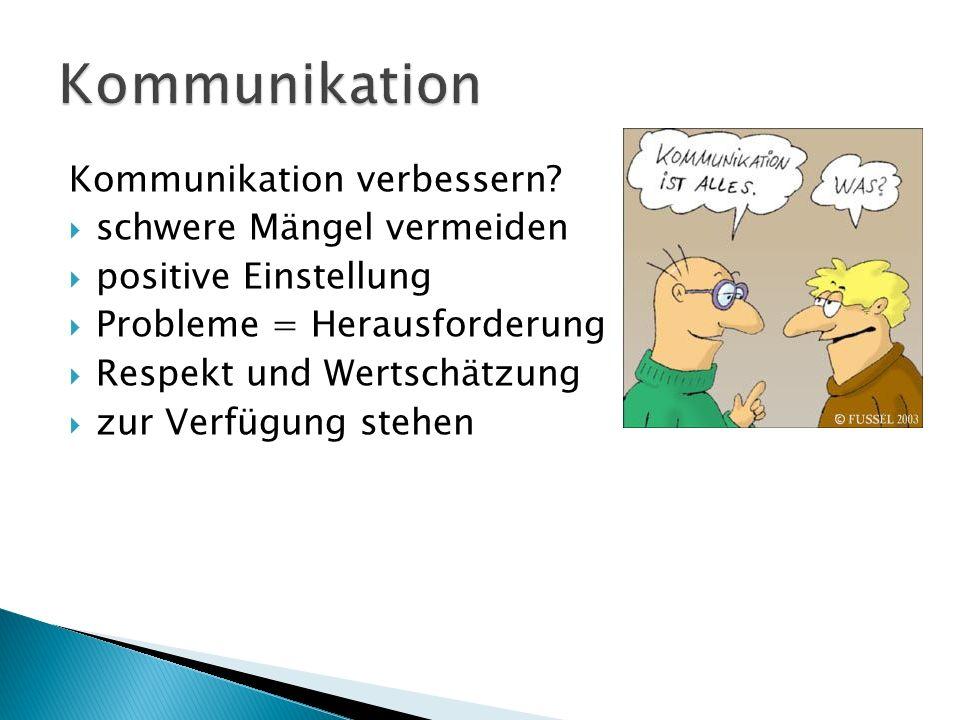 Kommunikation Kommunikation verbessern schwere Mängel vermeiden