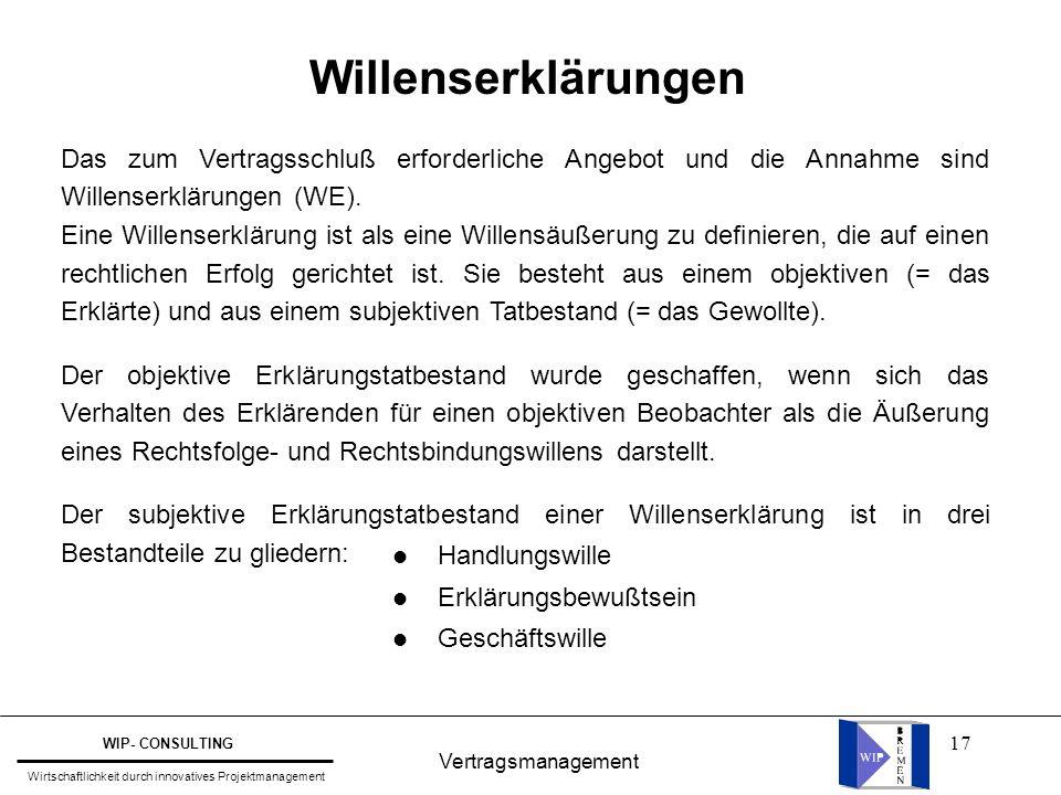 Willenserklärungen Das zum Vertragsschluß erforderliche Angebot und die Annahme sind Willenserklärungen (WE).