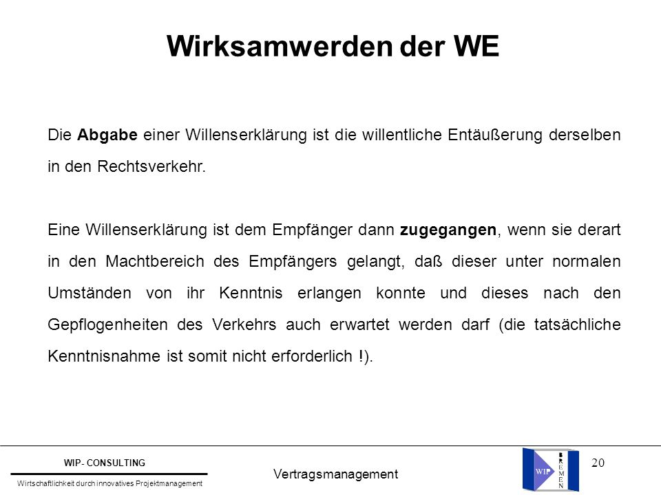 Wirksamwerden der WE Die Abgabe einer Willenserklärung ist die willentliche Entäußerung derselben in den Rechtsverkehr.