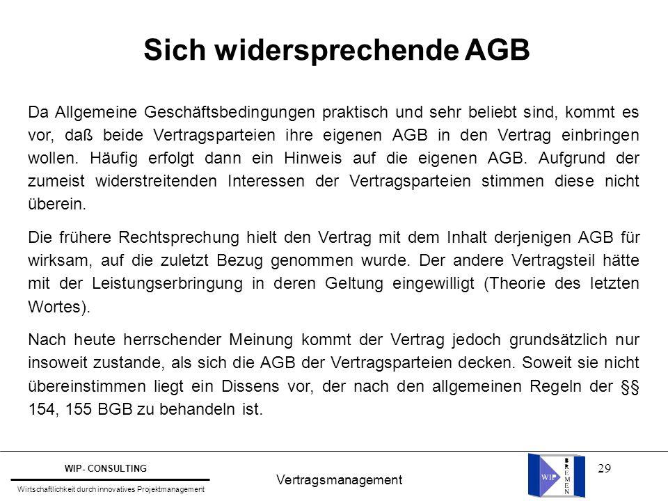 Sich widersprechende AGB