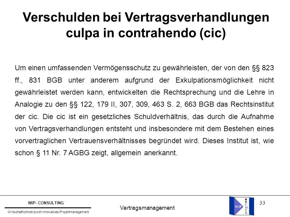 Verschulden bei Vertragsverhandlungen culpa in contrahendo (cic)