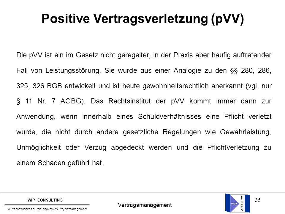 Positive Vertragsverletzung (pVV)