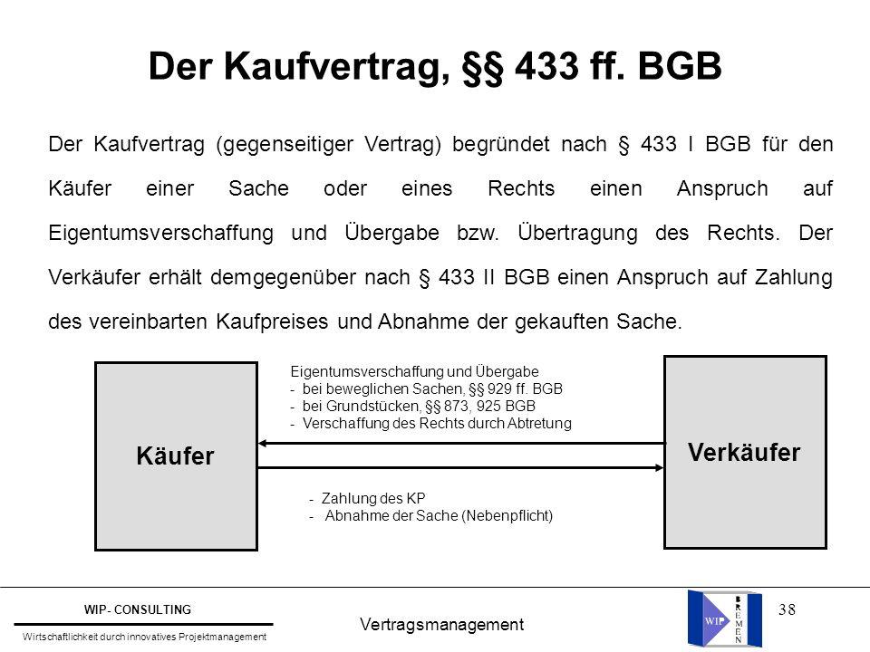 Der Kaufvertrag, §§ 433 ff. BGB
