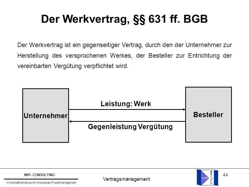 Der Werkvertrag, §§ 631 ff. BGB