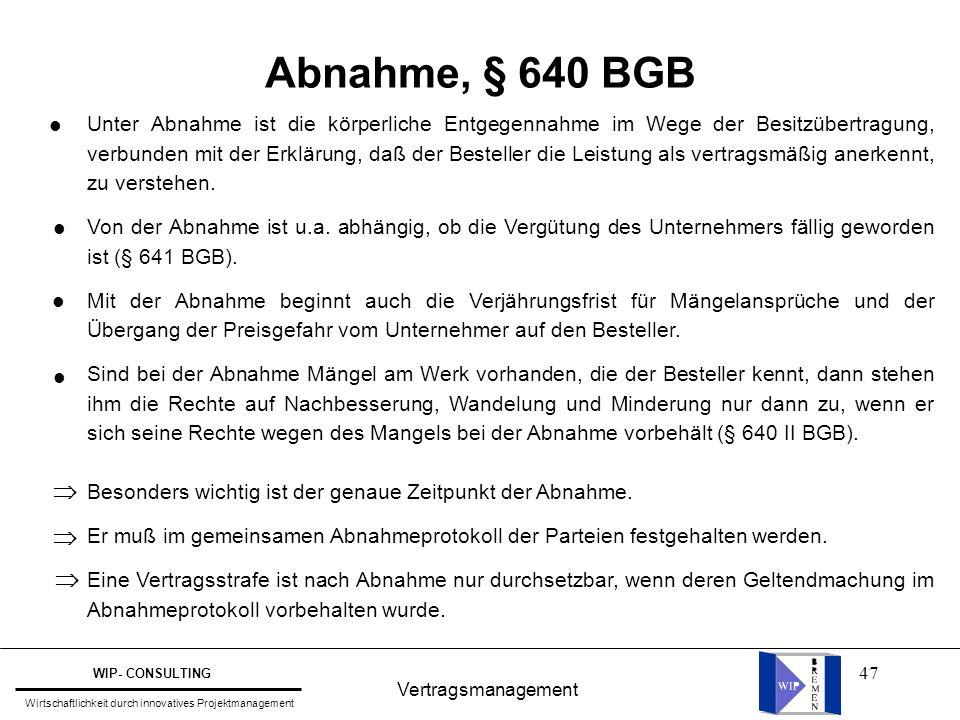 Abnahme, § 640 BGB