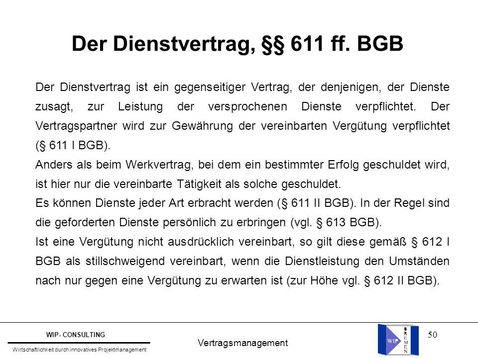 Der Dienstvertrag, §§ 611 ff. BGB
