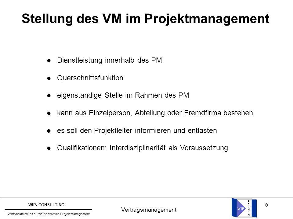 Stellung des VM im Projektmanagement