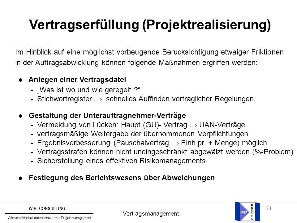 Vertragserfüllung (Projektrealisierung)