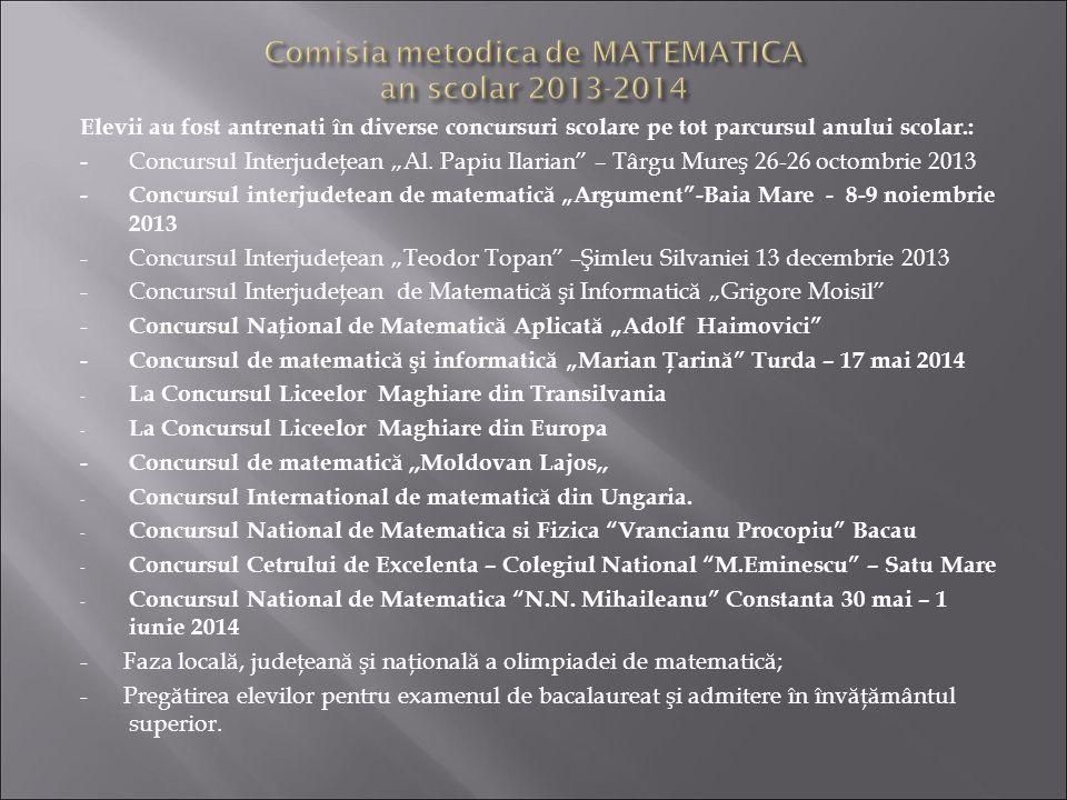 Comisia metodica de MATEMATICA an scolar 2013-2014