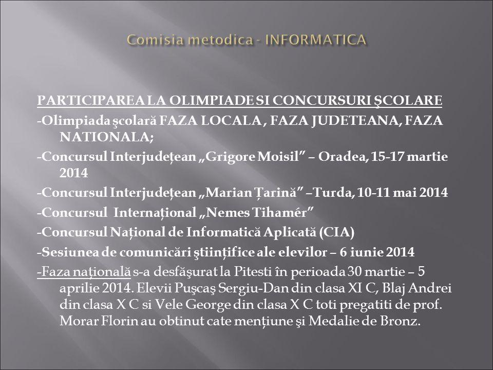 Comisia metodica - INFORMATICA