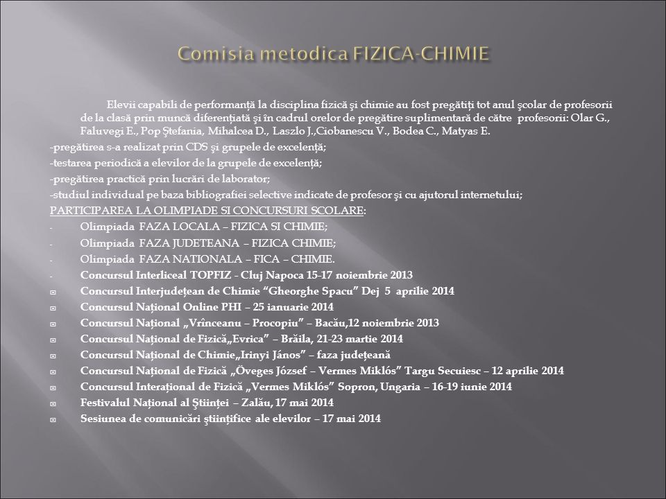 Comisia metodica FIZICA-CHIMIE