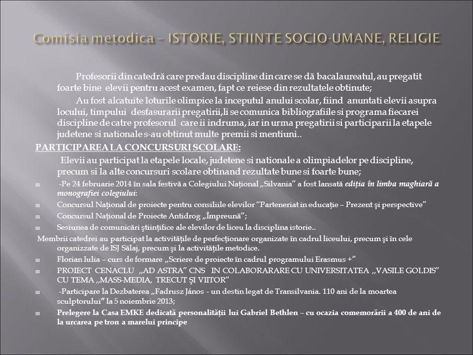 Comisia metodica – ISTORIE, STIINTE SOCIO-UMANE, RELIGIE