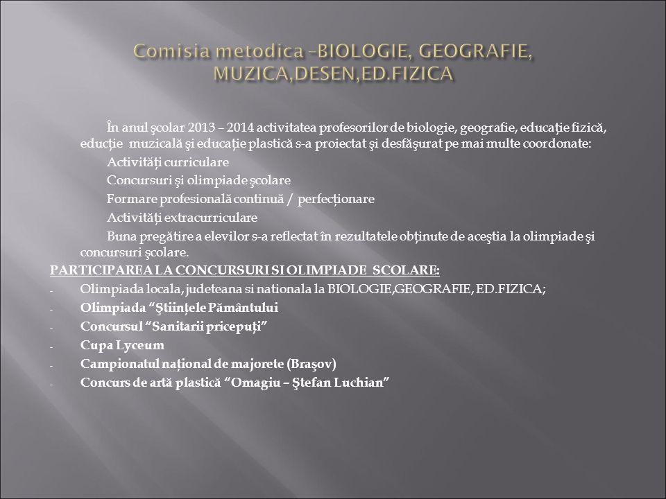 Comisia metodica –BIOLOGIE, GEOGRAFIE, MUZICA,DESEN,ED.FIZICA