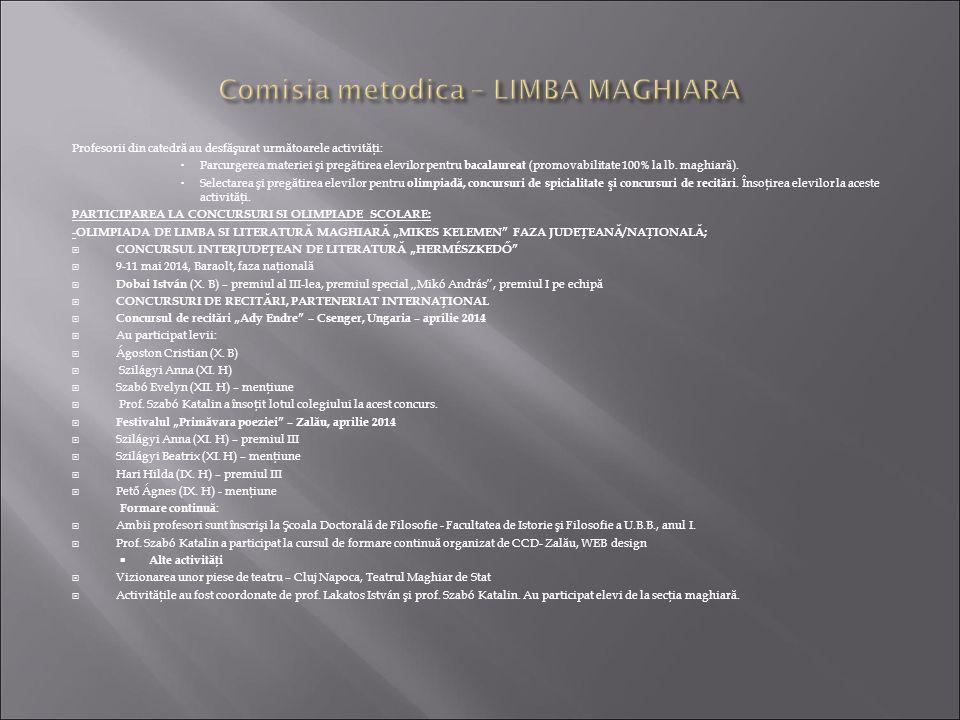 Comisia metodica – LIMBA MAGHIARA