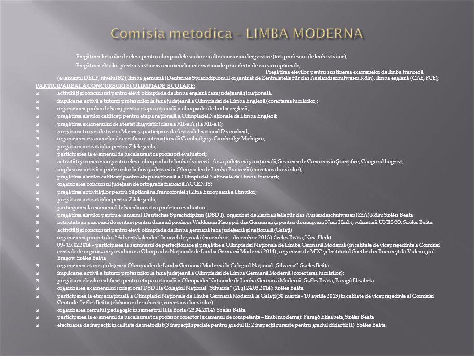 Comisia metodica – LIMBA MODERNA