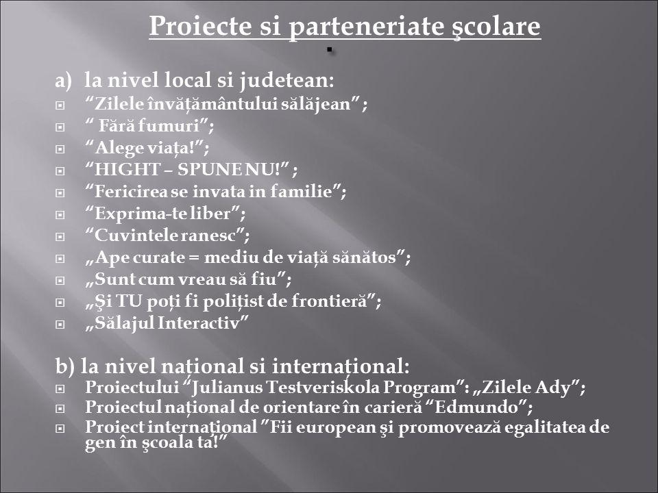 Proiecte si parteneriate şcolare