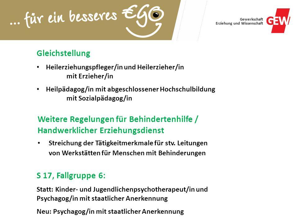 Gleichstellung Heilerziehungspfleger/in und Heilerzieher/in. mit Erzieher/in. Heilpädagog/in mit abgeschlossener Hochschulbildung.
