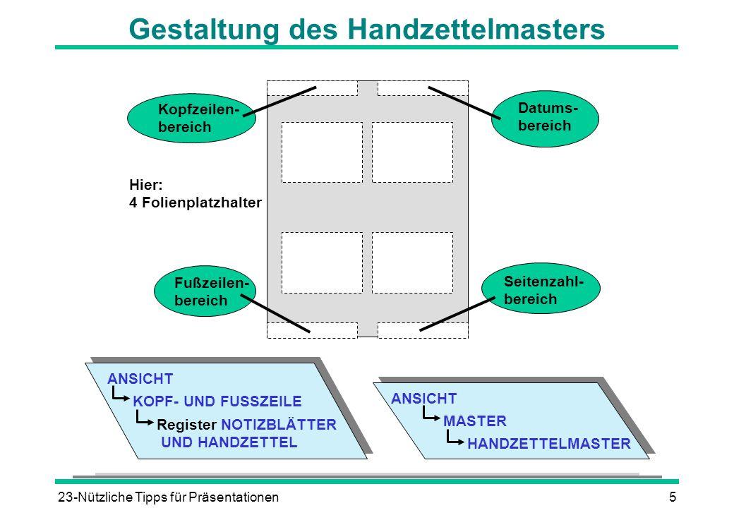 Gestaltung des Handzettelmasters