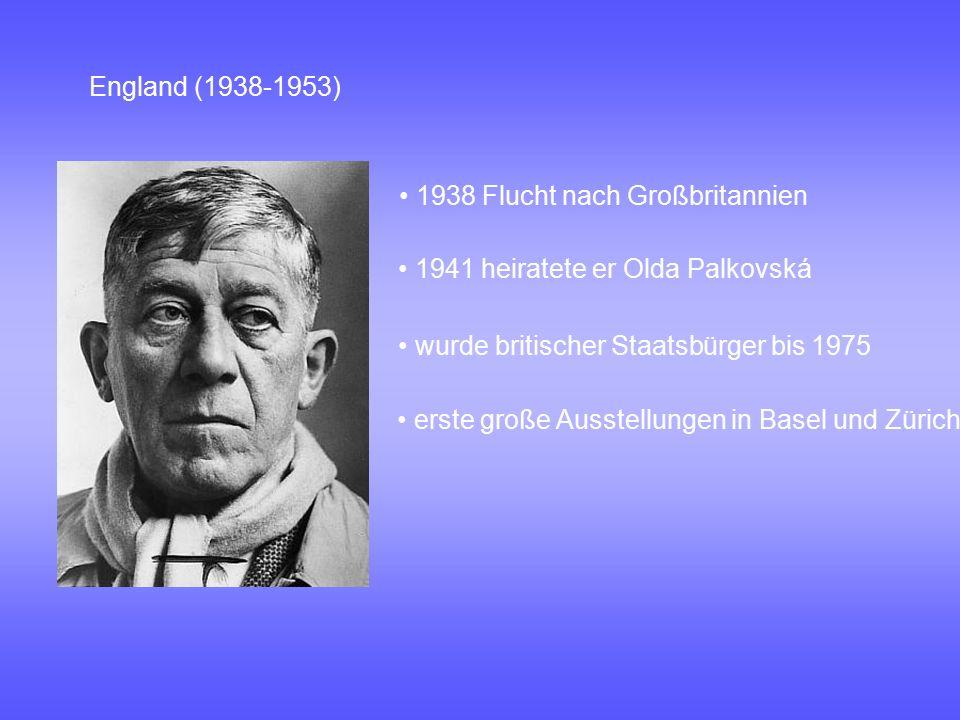 England (1938-1953) • 1938 Flucht nach Großbritannien. • 1941 heiratete er Olda Palkovská. • wurde britischer Staatsbürger bis 1975.