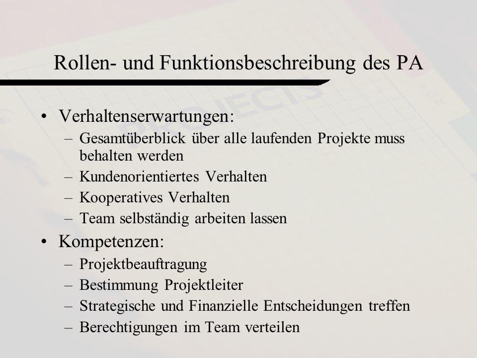 Rollen- und Funktionsbeschreibung des PA