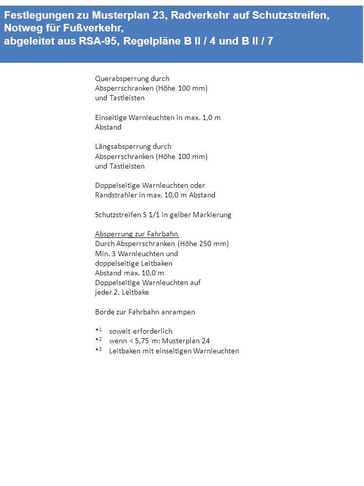 Festlegungen zu Musterplan 23, Radverkehr auf Schutzstreifen, Notweg für Fußverkehr, abgeleitet aus RSA-95, Regelpläne B II / 4 und B II / 7