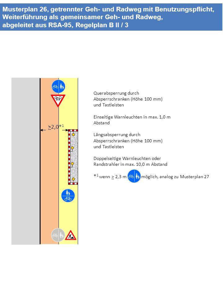 Musterplan 26, getrennter Geh- und Radweg mit Benutzungspflicht, Weiterführung als gemeinsamer Geh- und Radweg, abgeleitet aus RSA-95, Regelplan B II / 3