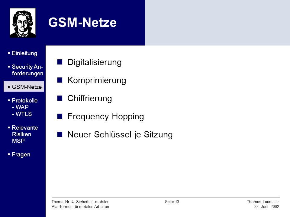 GSM-Netze Digitalisierung Komprimierung Chiffrierung Frequency Hopping
