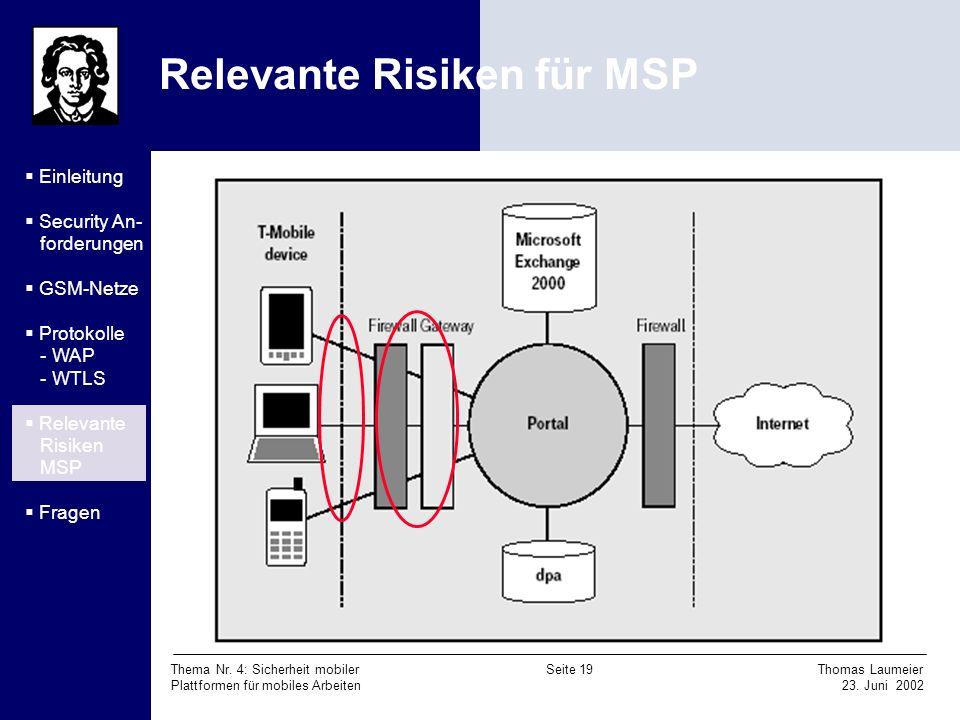 Relevante Risiken für MSP