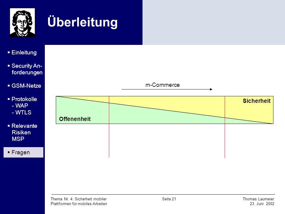 Überleitung Einleitung Security An- forderungen GSM-Netze Protokolle