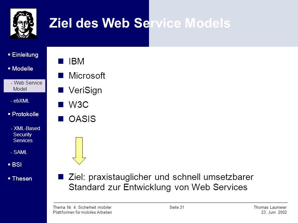 Ziel des Web Service Models