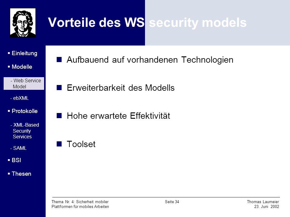 Vorteile des WS security models