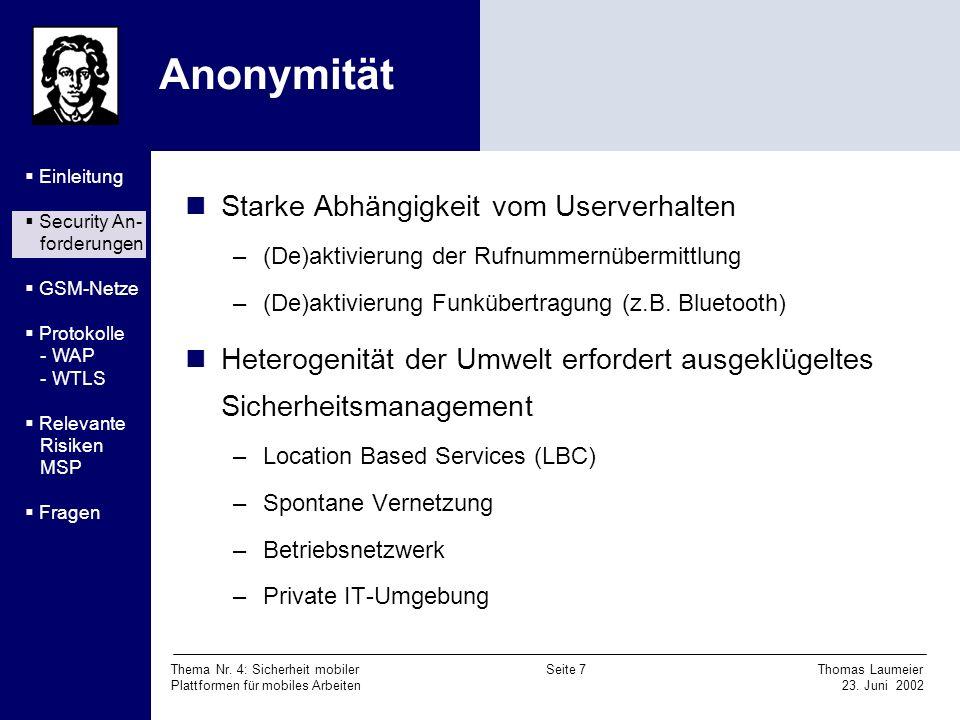 Anonymität Starke Abhängigkeit vom Userverhalten