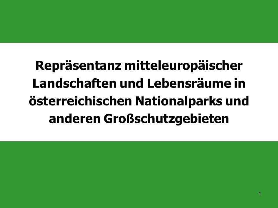 Repräsentanz mitteleuropäischer Landschaften und Lebensräume in österreichischen Nationalparks und anderen Großschutzgebieten