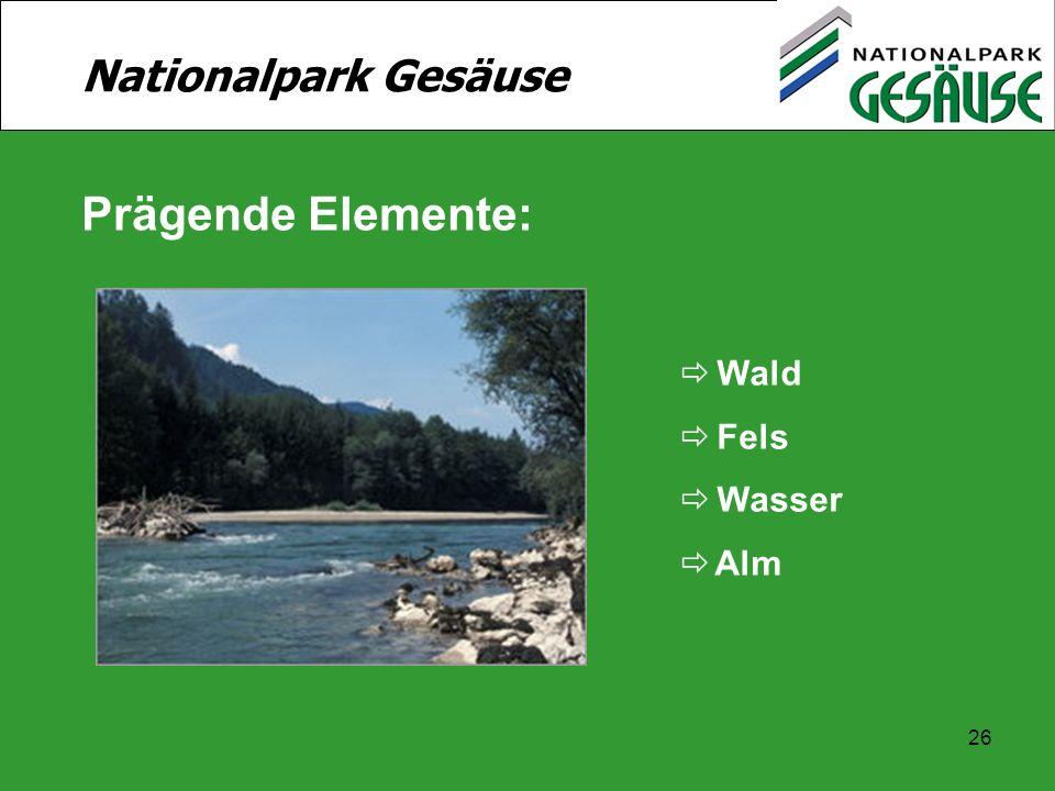 Nationalpark Gesäuse Prägende Elemente: Wald Fels Wasser Alm