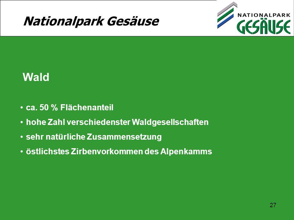 Nationalpark Gesäuse Wald ca. 50 % Flächenanteil
