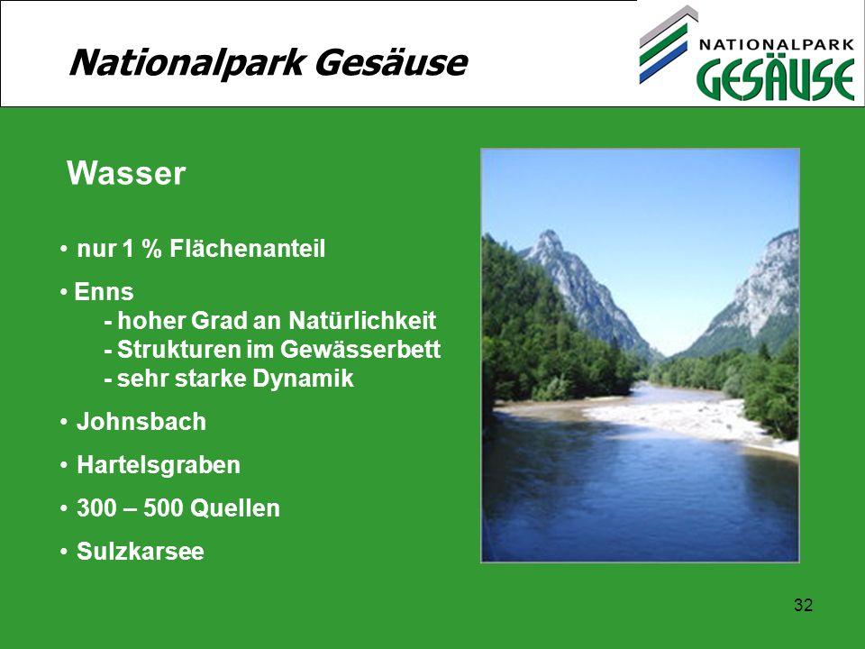 Nationalpark Gesäuse Wasser nur 1 % Flächenanteil