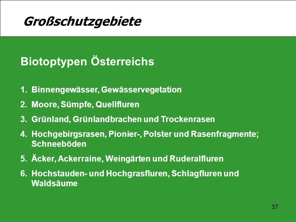 Großschutzgebiete Biotoptypen Österreichs
