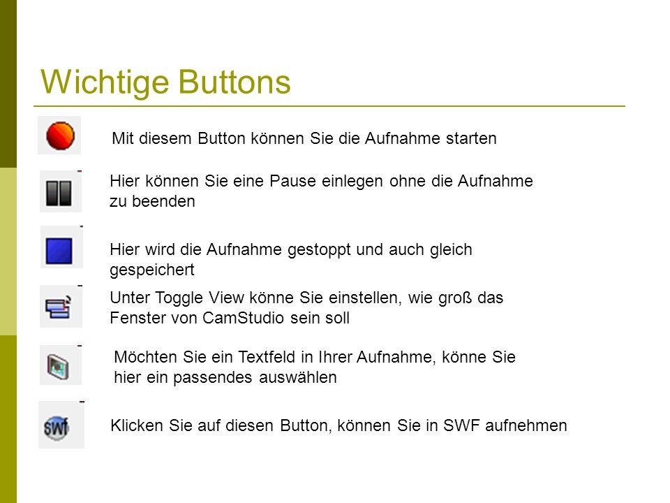 Wichtige Buttons Mit diesem Button können Sie die Aufnahme starten