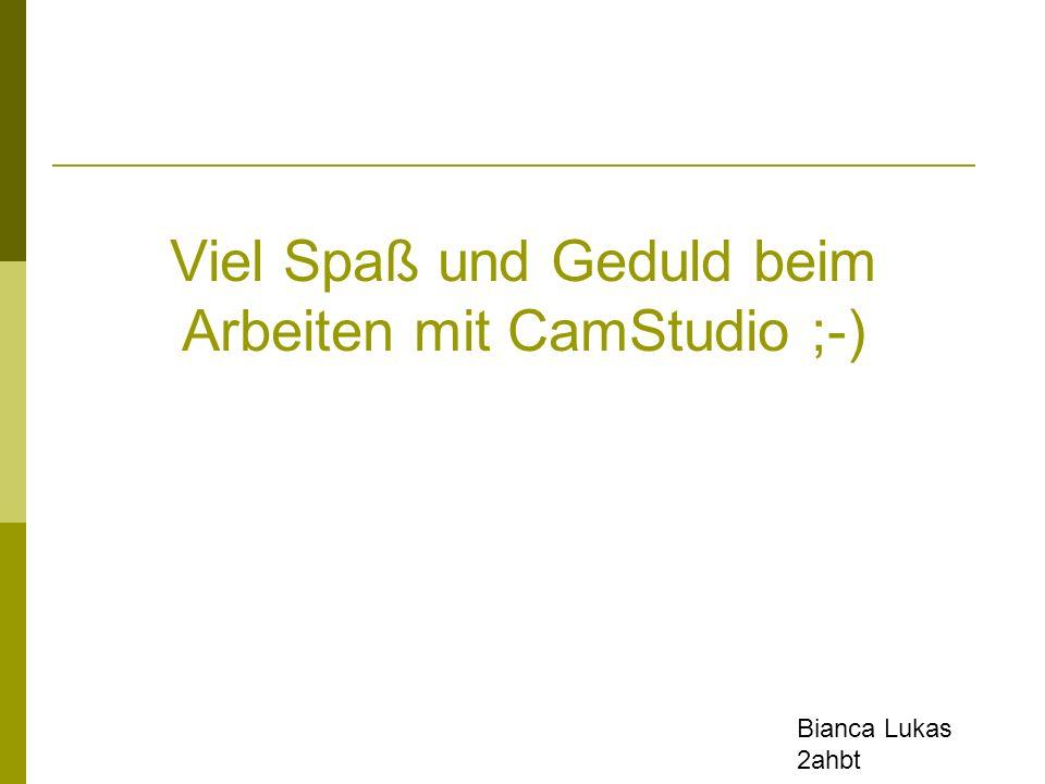 Viel Spaß und Geduld beim Arbeiten mit CamStudio ;-)