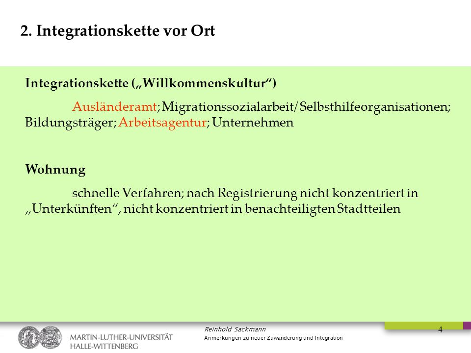 2. Integrationskette vor Ort