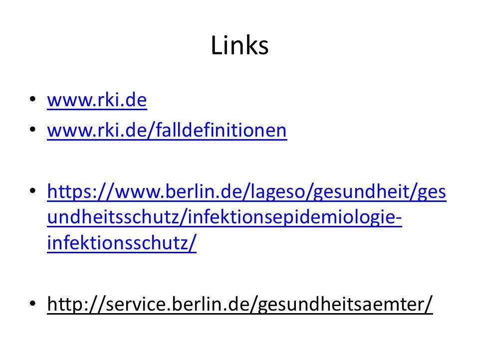 Links www.rki.de www.rki.de/falldefinitionen