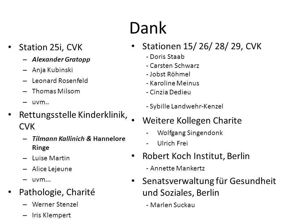Dank Stationen 15/ 26/ 28/ 29, CVK Station 25i, CVK