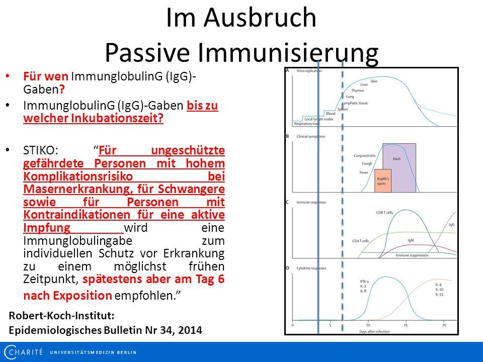 Im Ausbruch Passive Immunisierung