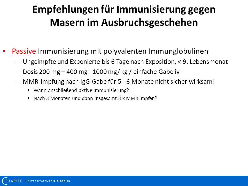 Empfehlungen für Immunisierung gegen Masern im Ausbruchsgeschehen