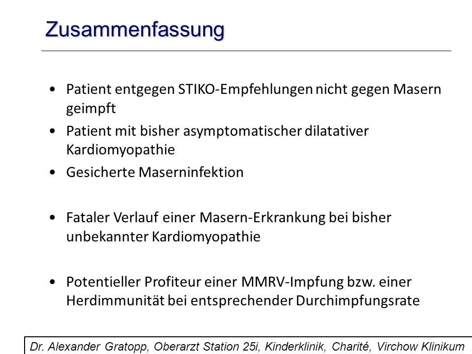 Zusammenfassung Patient entgegen STIKO-Empfehlungen nicht gegen Masern geimpft. Patient mit bisher asymptomatischer dilatativer Kardiomyopathie.