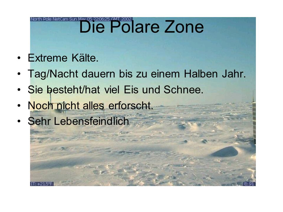 Die Polare Zone Extreme Kälte.