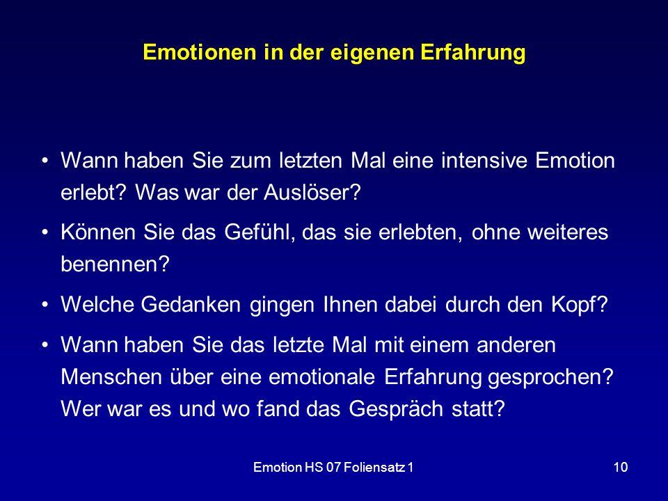 Emotionen in der eigenen Erfahrung